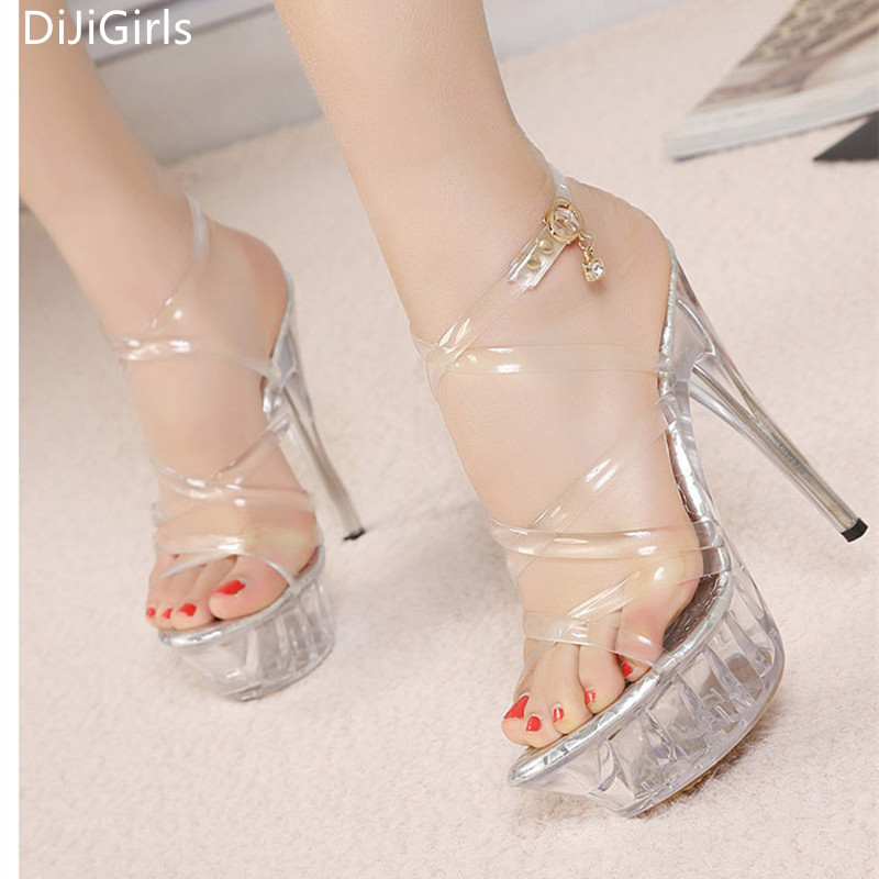b340cfd267b1 Big size 35-43 Tenacity Clear PVC Women Sandals Transparent Crystal High  Heels Platform Sandals Open Toe High Stripper Shoes