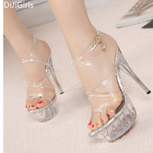 Big size 35-43 Tenacity Clear PVC Women Sandals Transparent Crystal High Heels Platform Sandals Open Toe High Stripper Shoes