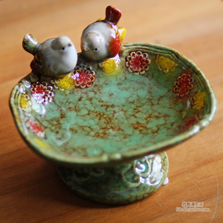 vintage ceramic bird soap dish Fruit candy dish bathroom accessories set kit wedding home decor handicraft porcelain figurine in Figurines Miniatures from Home Garden