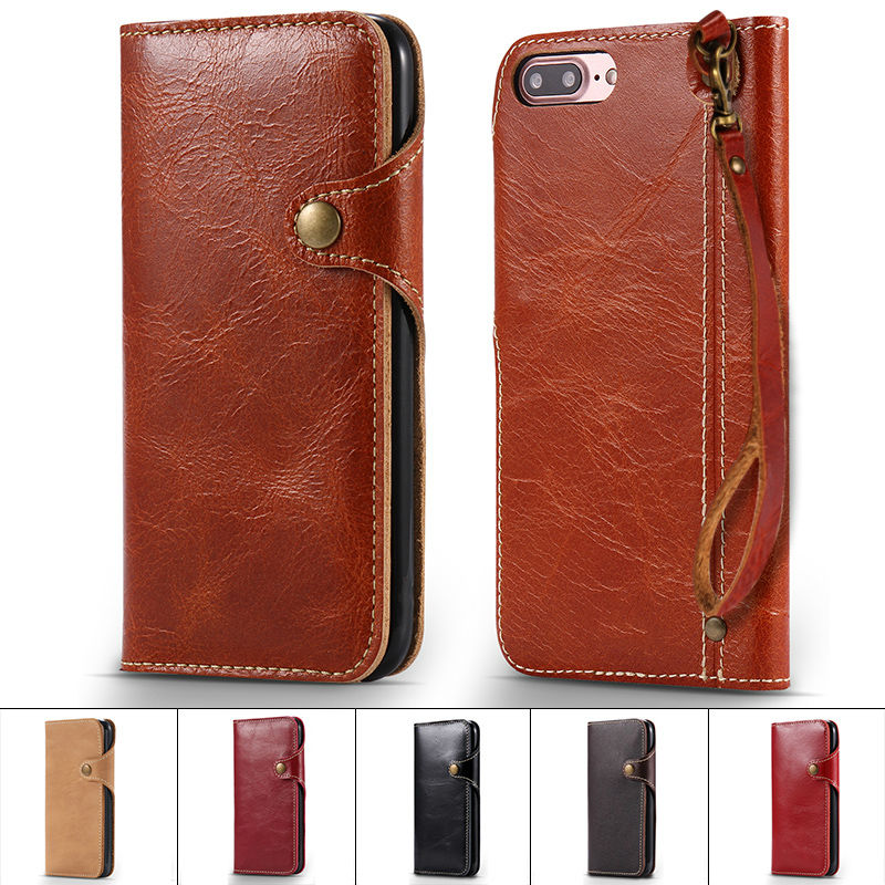 Button Retro Lanyard Book Flip Soft Real Genuine Leather Case for iPhone 6 s 6s 7