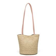 AUTUMN SOUND Shoulder Bag Ladies Weaving Bucket Beach Shoulder Bags New Straw Bag Casual Handbag Summer Holiday Fashion Bag