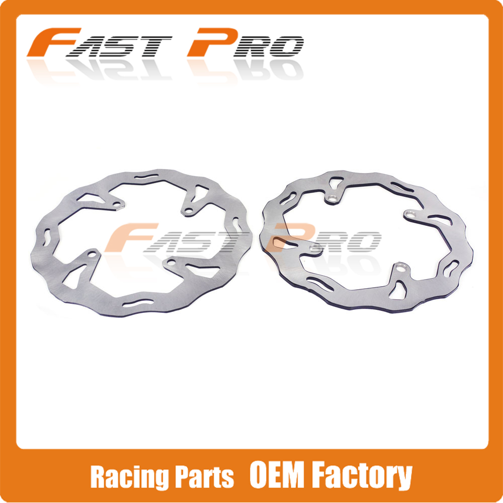 Front Rear Wavy Brake Disc Rotor Set For KX125 KX250 KX250F KX450F KLX450R KX KXF KLX Motocross Enduro Supermoto Racing