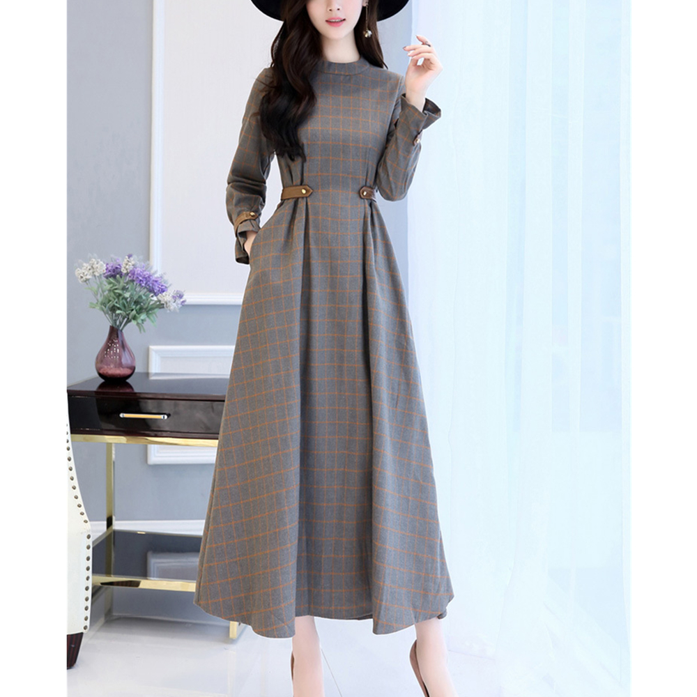 Women S Pleated Maxi Long Dress Retro Aline Autumn O Neck Sashes Ankle Length Full Plaid Dresses In From Clothing Accessories On