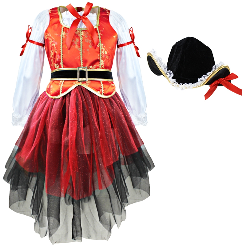 2pcs dress + hat Pirate dress for kids girl Carnival Halloween cosplay Costume children girl party clothes Fairy Fancy Dress up