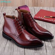 Pointed Toe Genuine Leather Chelsea Boots Men Luxury Fashion Brogues Martin Boots Men Business Ankle Dress Boots Shoes christia bella fashion genuine leather men boots pointed toe lace up ankle boots for men wedding dress shoes winter cowboy boots