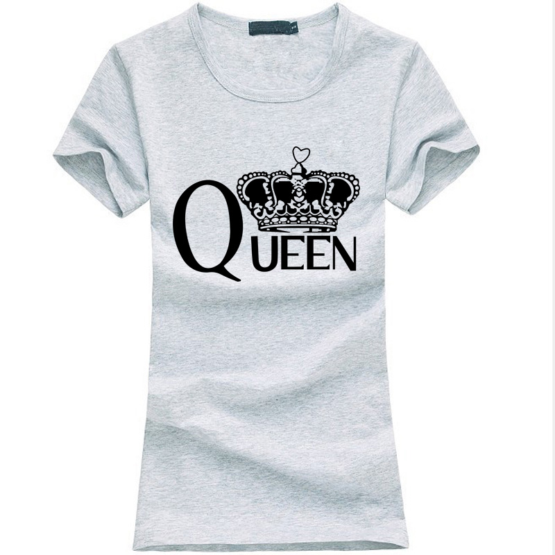 Reina de la moda Cartas de impresión mujeres t-shirt 2017 verano divertido Algod