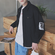 2017 spring tide male letter printing loose jean jacket white/black coat lapels sports recreational unlined upper garment