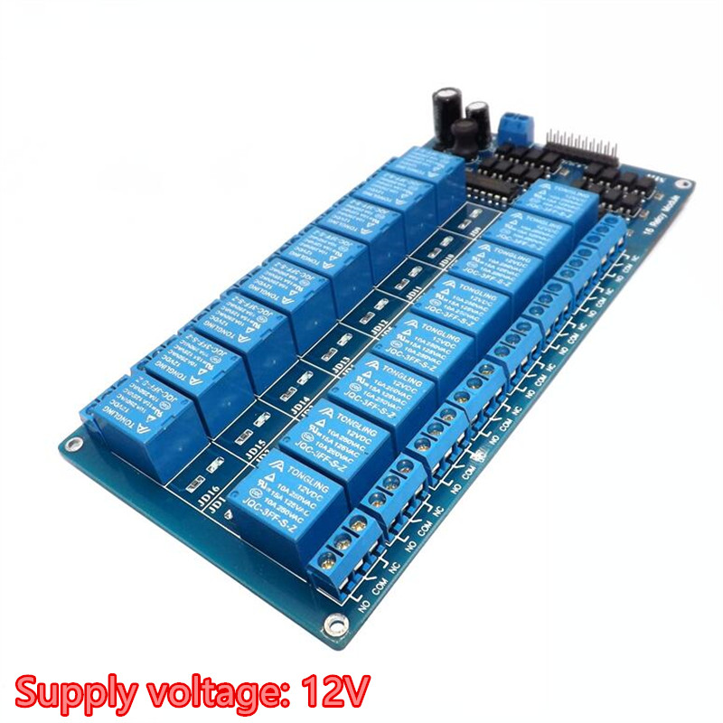 цена на Sixteen 16 Channel Relay Module Interface Board for arduino With Optocoupler Protection DC 5V 12V