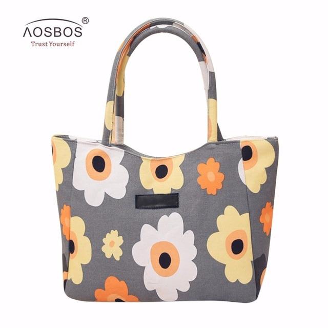 Aosbos Brand Women Floral Printed Shopping Bags Canvas Reusable Totes Bag Zipper Foldable Ladies Single Shoulder Beach Bag
