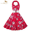 SISHION Red Women Dress Plus Size Summer Clothing 2017 Halter Skull Floral Pin up Retro Vintage 60s 50s Rockabilly Dress VD0474