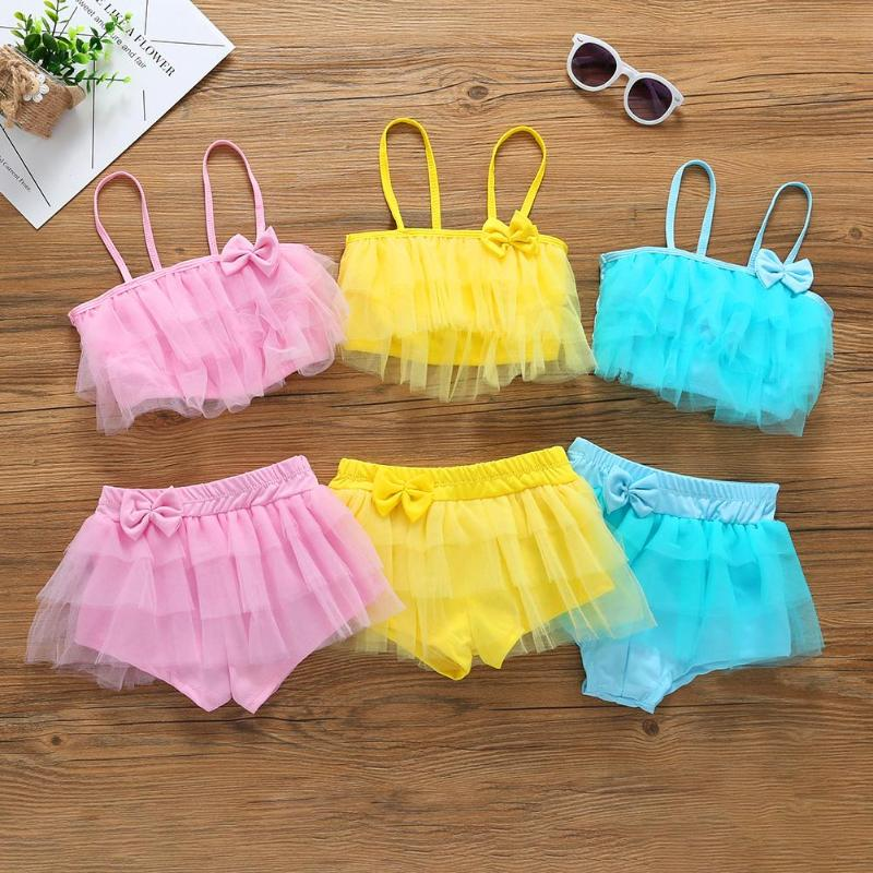 Children Swimwear Falbala Girls Bikinis Set Baby Kids Bow Swimsuit Bikini Girl Summer La ...