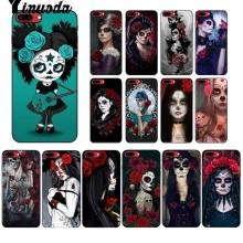 Yinuoda Catrina beautiful rose girl Skull Art Black Cell Phone Case for Apple iPhone 8 7 6 6S Plus X XS MAX 5 5S SE XR Cover(China)