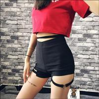 Women Sexy Shorts Leg ring design high waist shorts female summer 19 new jazz dance sexy hip hop shorts tide stage costumes