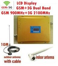 Жк-дисплей 3 г W-CDMA 2100 мГц + GSM 900 мГц двухдиапазонный мобильный телефон усилитель сигнала, Сигнал сотового телефона повторителя + антенна + кабель