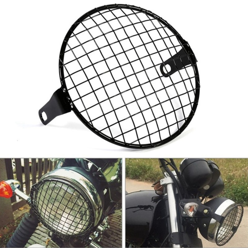 Mayitr New 6.5 inch Motorcycle Front Headlight Lamp Metal Mesh Grille Cover Mask Black Square Grid For Harley Honda Cafe Racer motorcycle scooter electroplate front headlight headlamp head light lamp small mask cap cover shield large for yamaha bws x 125