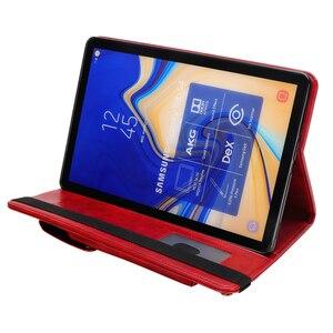 Image 3 - Voor Samsung Tab S4 T830 Retro Boek Leather Case Wallet Card Stand Smart Cover voor Samsung Galaxy Tab 10.5 T835 met Pen Slot