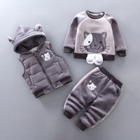 Autumn Winter Baby Girls Boys Clothing Set Cartoon Cat Kids Thickening Hooded Vest Sweater Pant 3pcs Sport Suits Children Outfit