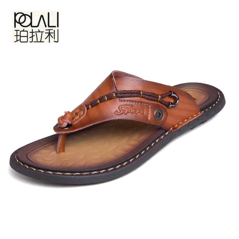 POLALI Luxury Brand Flip Flops Soft comfortable Microfiber Leather Slippers Beach Slipper Flip Flop Summer Shoe For Men size 47