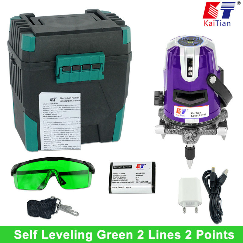 KaiTian Green Laser Level with Battery Tilt Function 360 Rotary Self Leveling Outdoor 532nm 2 Lines Vertical & Horizontal Lasers