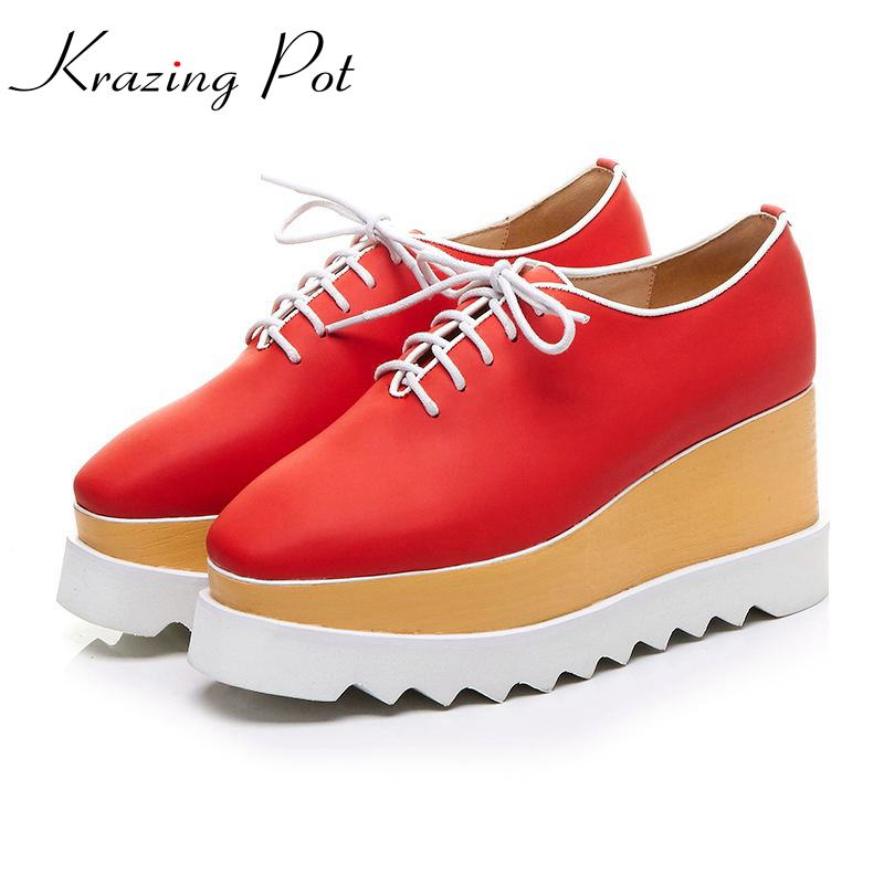 Krazing Pot full grain leather shoes women square toe lace up women pumps causal big size long legs beauty increased shoes L56 холодильник pozis rs 416 w page 6