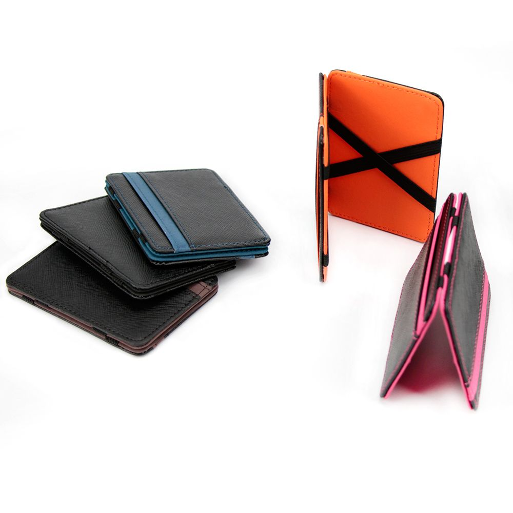 Magic Wallet Money Clip Card ID Slim Light Flip  Leather Purse Clamp Money Case With Elastic Band Bifold Business Leather Wallet