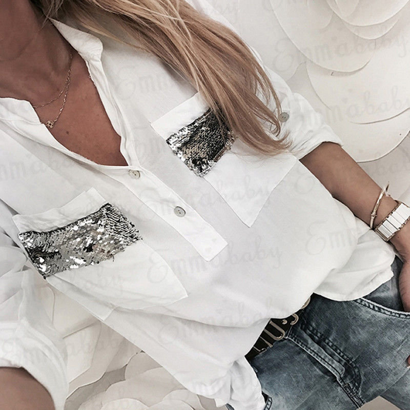 New Women White Blouse Long Sleeve Button-down Low Cut Blouse White Casual Shirt Tops Fashion Clothes