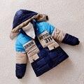 2016 chicos childen Parka chaquetas de invierno para Niños chaquetas Abrigos Niños calientes del bebé de algodón gruesa abajo chaqueta de invierno frío