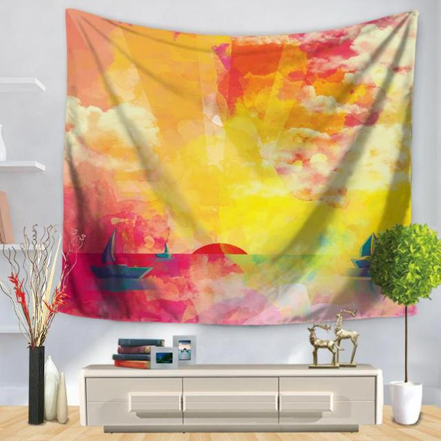 Color Painted Landscape Wall Art Tapestry Home Decor Living Room ...