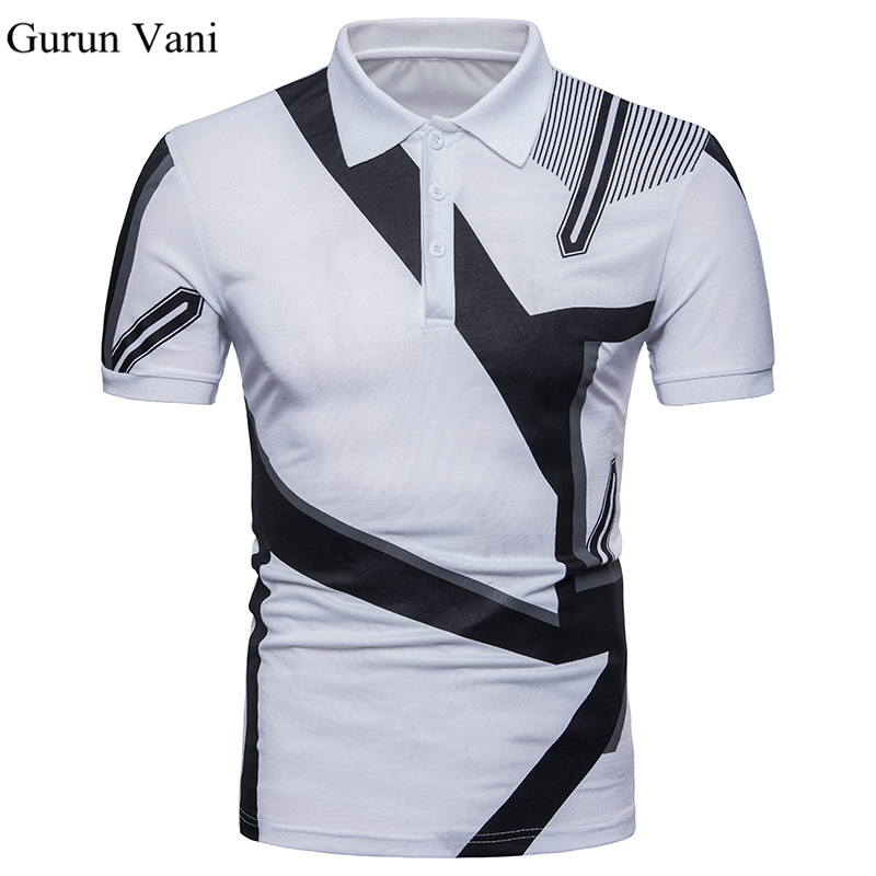 New 2018 Brand   POLO   Shirt Men Cotton Fashion Geometric Pattern Print Camisa   Polo   Summer Short-sleeve Casual Shirts European Size