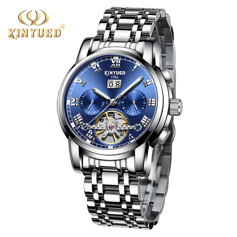 KINYUED Mens Top Brand Automatic Mechanical Watches Luxury Stainless Steel Luminous Watch Men Waterproof Relogio Masculino mens watches top brand luxury sapphire waterproof relogio stainless steel 2017 switzerland automatic mechanical men watch b5005