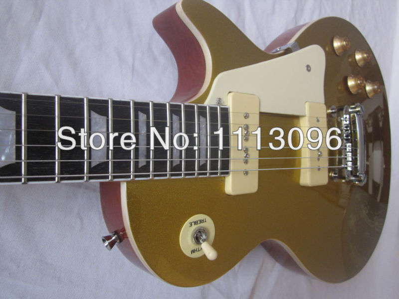 Electric guitar free shipping G lp standard 1956/1957 P90 Pickups electric guitar with gold top glod color guitarra best price of the white lp standard electric guitar china with bigsby rosewood fretboard guitar free shipping