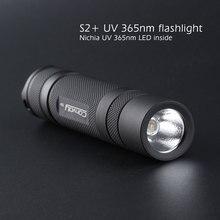 Comboio s2 + preto uv 365nm lanterna led, nichia 365uv no lado, op refletor, detecção de agente fluorescente