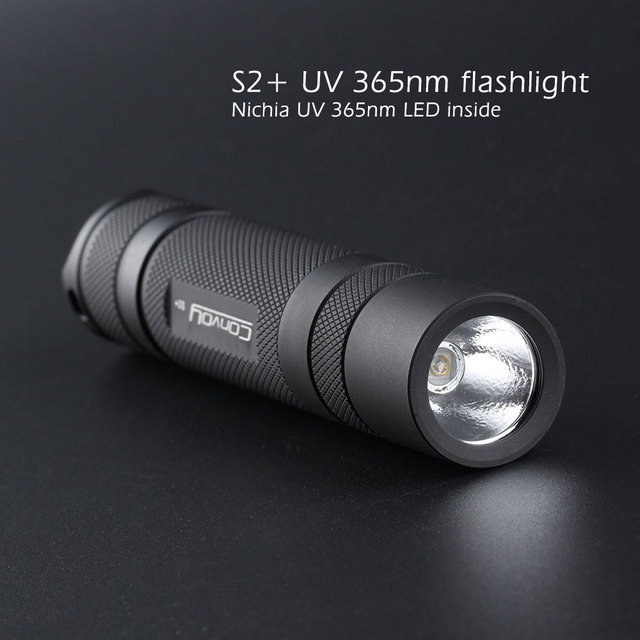 Convoy S2 + สีดำ UV 365nm ไฟฉาย LED Nichia 365UV ด้านข้าง,OP reflector,Fluorescent Agent DETECTION