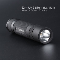 Convoy S2+ black UV 365nm led flashlight ,with nichia LED in side ,Fluorescent agent detection,UVA 18650 Ultraviolet flashlight