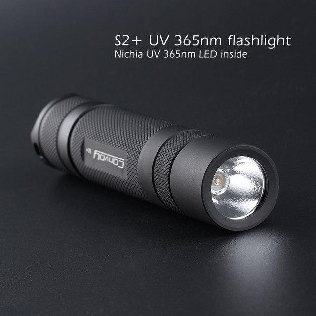 Convoy S2 + negro UV 365nm led linterna led nichia 365UV en lado OP reflector agente fluorescente de detección