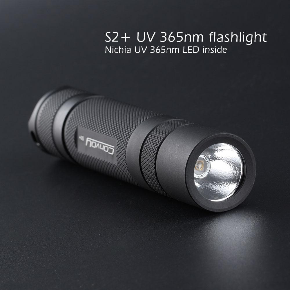 Convoy s2 + preto uv 365nm lanterna led, com nichia led no lado, detecção de agente fluorescente, uva 18650 lanterna ultravioleta