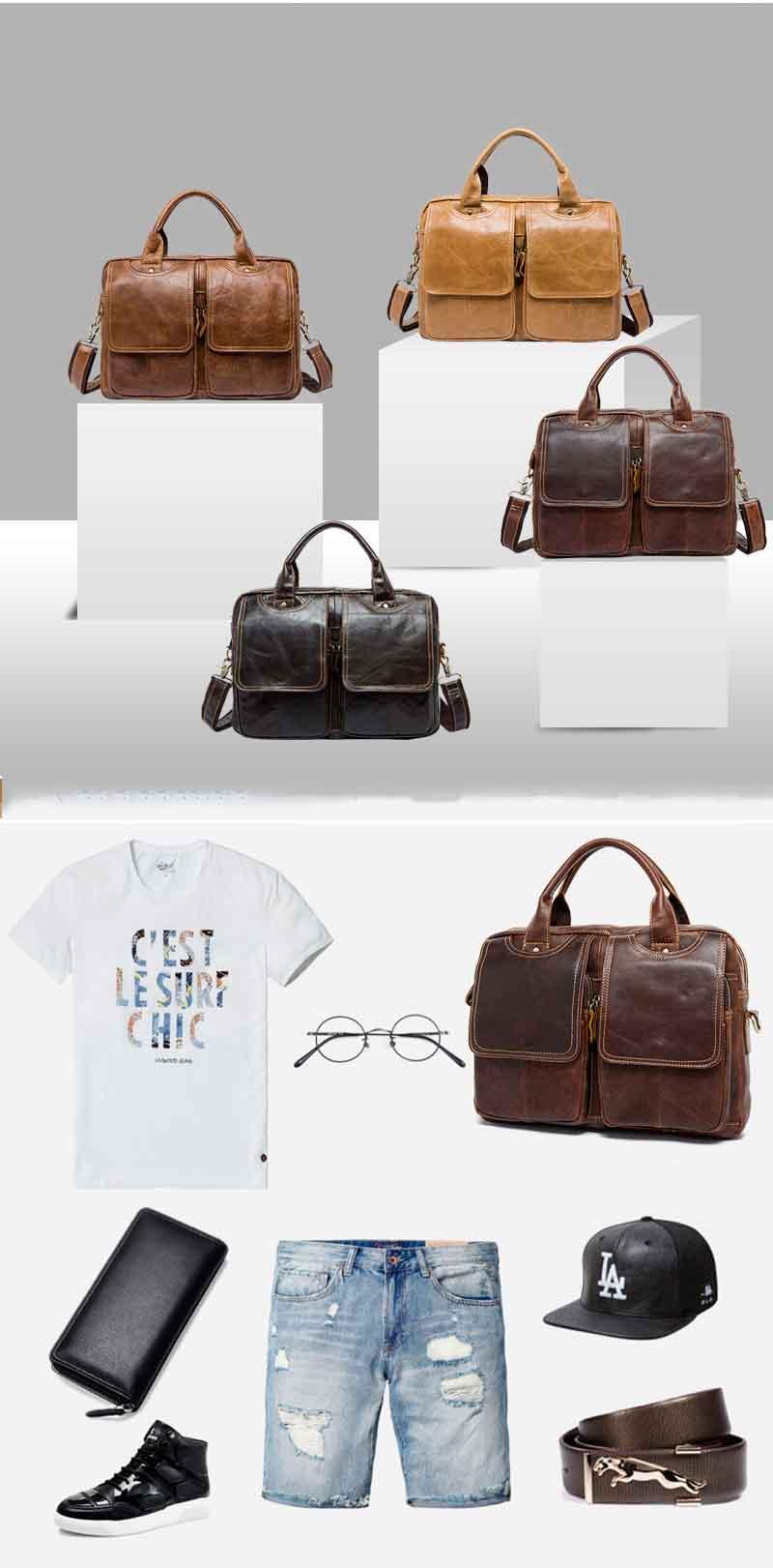 Topdudes.com - Genuine Leather Vintage Business Briefcase
