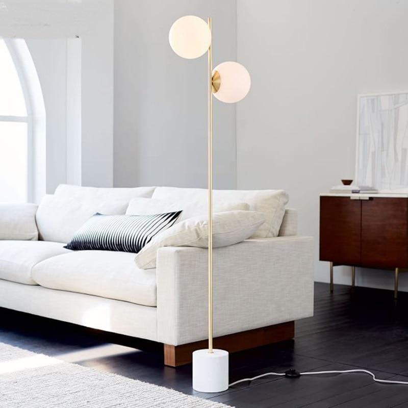 Modern Glass Ball Floor Lamp Nordic Bedroom Bedside Round The Living Room Sofa 2 Heads Light ZA81599
