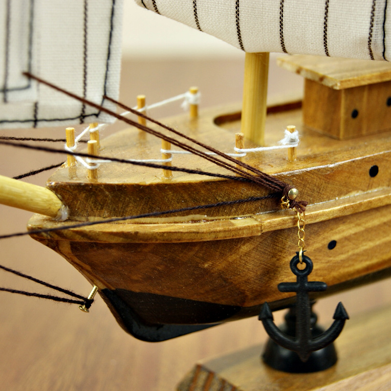 Aliexpress Buy 30cm Wooden Ship Craft Sailing Boat Mediterranean Wood Sailboat Model Nautical Pure Manual Decoration Home Decor From Reliable