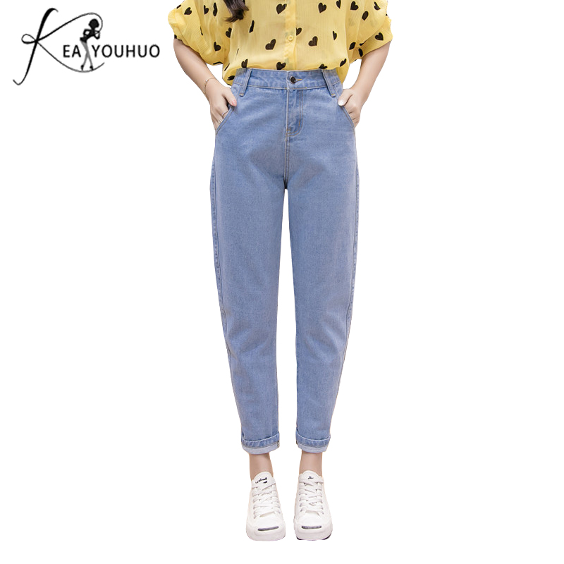 New 2018 Winter Female Boyfriend   Jeans   For Women Blue Casual Pencil High Waist   Jeans   Loose Mom   Jeans   Black Denim Pants Big Size