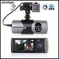 2.7 inch Dual Lens Car DVR GPS Logger, 720P Car Camcorder G-sensor Dash Cam Video Registrator GPS Tracker Car Camera Recorder