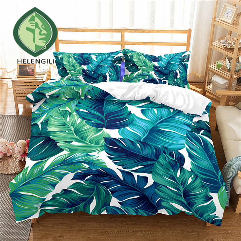 HELENGILI 3D Bedding Set Tropical Plants Print Duvet Cover Set Lifelike Bedclothes With Pillowcase Bed Set Home Textiles #RD-08