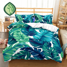 HELENGILI 3D Bedding Set Tropical plants Print Duvet cover set lifelike bedclothes with pillowcase bed home Textiles #RD-08