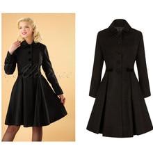 30-зима для женщин Ретро стиль 50-х, длинное Свободное пальто в черном цвете с бархатом и отделкой размера плюс куртка кинозвезды, женская верхняя одежда с Минни Маус abrigos