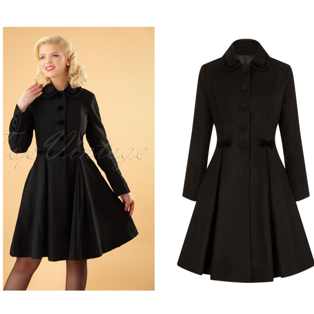 US $134.89 29% OFF|30 winter women vintage 50s long swing coat in black  with velvet trim detail plus size jacket pinup manteau femme abrigos-in  Wool & ...