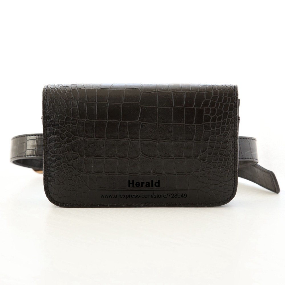Herald Fashion Women Waist Belt Bag Crocodile PU Leather Belt Pack Waist Bag Small Women Bag Travel Bag Waist Pack Bolsas(1)