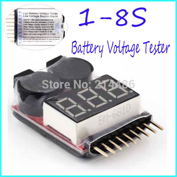Hot! for 1-8S Lipo/Li-ion/Fe Battery Voltage 2IN1 Tester Low Voltage Buzzer Alarm NO 1 New Sale rc model 2s 3s 4s detect lipo battery low voltage alarm buzzer