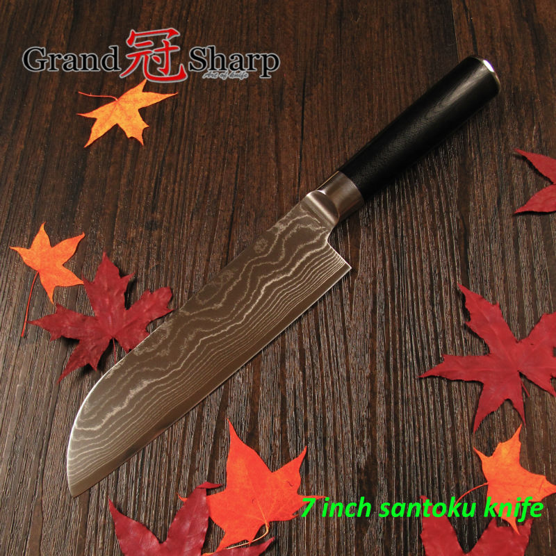 GRANDSHARP 7 Inch Santoku font b Knife b font 67 Layers Japanese Damascus Stainless Steel VG