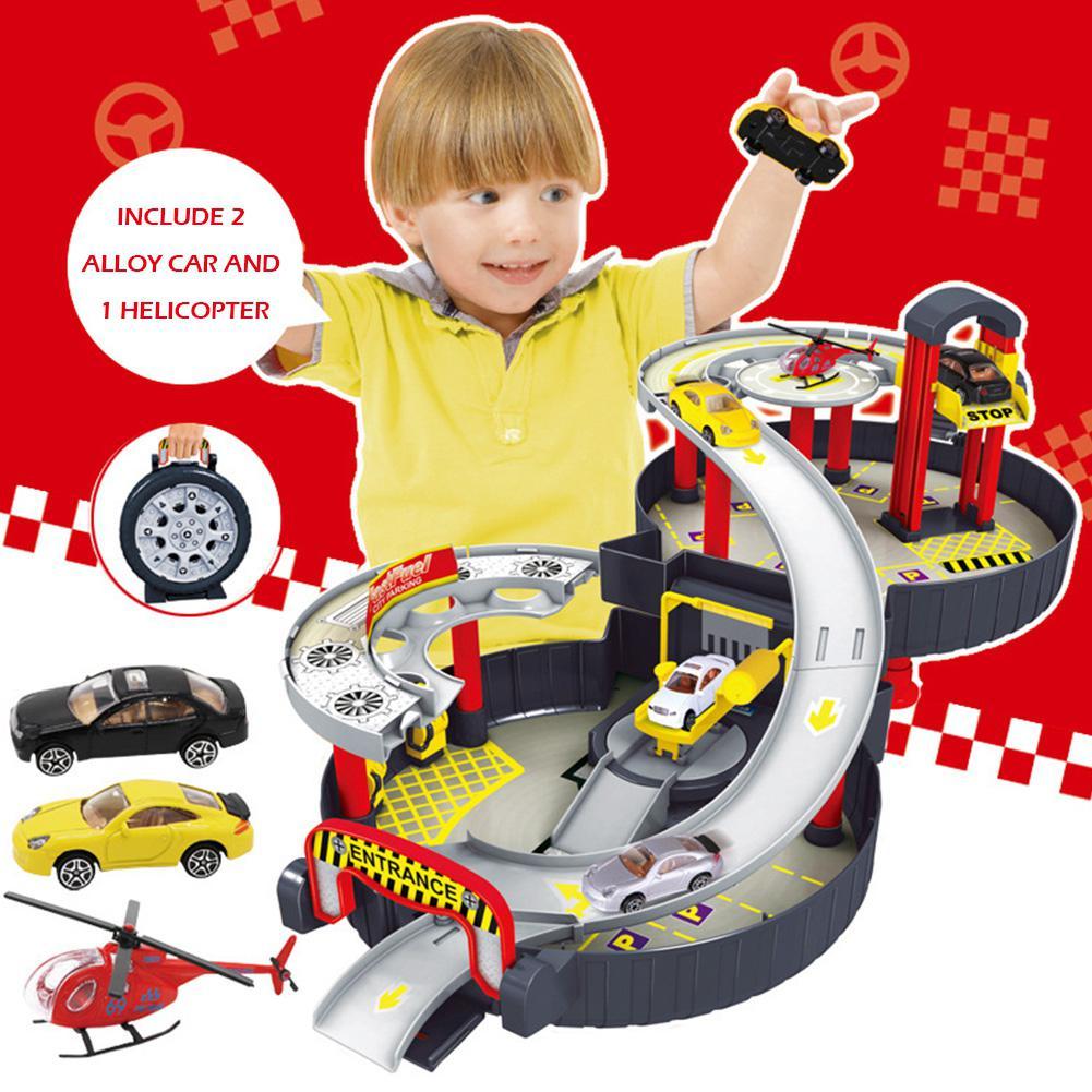 Игрушечный гараж s спиральные роликовые рельсы сплав транспортные средства дети город шина парковка игрушечный гараж автомобиль грузовик автомобиль авто Модель детский игровой набор