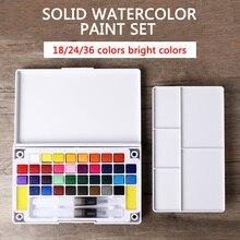 18/24/36Colors Solid Watercolor Paint Set Professional Box With Paintbrush Portable Watercolor Pigment Set Art Supplies